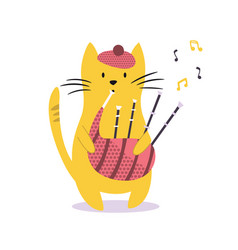 funny cat playing bagpipe vector image