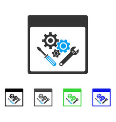 Gear tools calendar page flat icon vector
