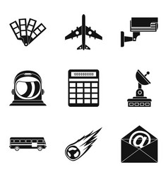 geo wireless icons set simple style vector image