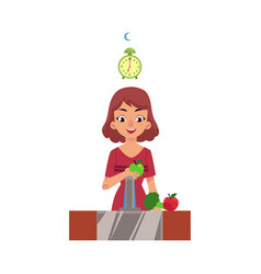 Girl woman washing and eating apple health care vector