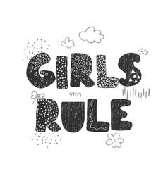 Girls rule - fun hand drawn nursery poster vector