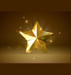golden star realistic 3d vector image