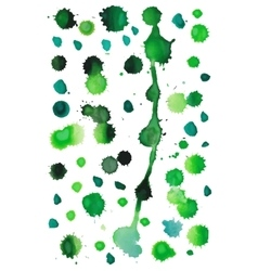Green watercolor splashes vector