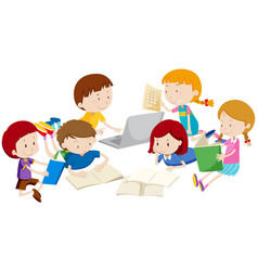 Group of children learning vector