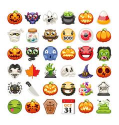 halloween emojis set flat vector image