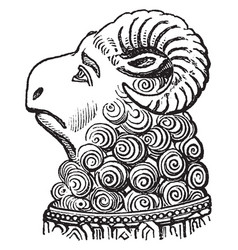 head of ram from the monument to abbot ramryge vector image