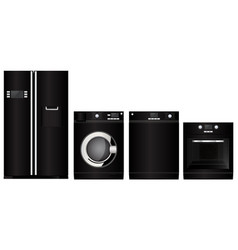 Home appliance devices black flat silhouette vector