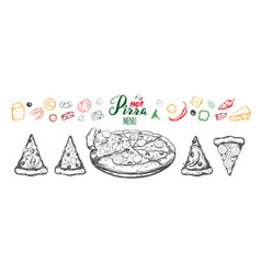 hot pizza set with ingredients and different types vector image