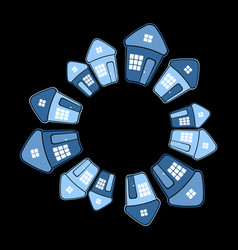 Houses in circle shape on black background vector