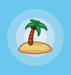 Icon palm tree on beach in sand vector
