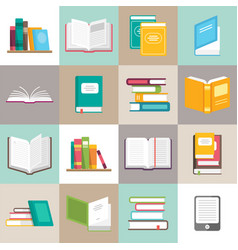 icons of books set in a flat style vector image