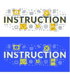 Instruction flat line concept for web banner vector