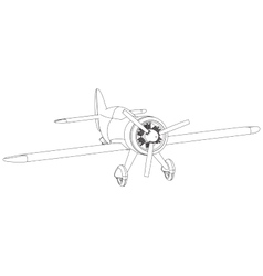 isolated propeller plane drawing vector image