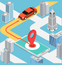 isometric car moving at pinpoint on mobile map vector image