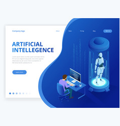 isometric robot with artificial intelligence vector image