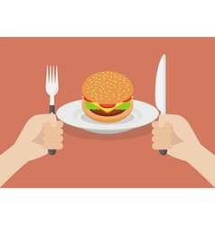Knife and fork cutlery in hands with burger vector