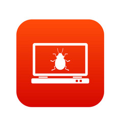 laptop icon digital red vector image