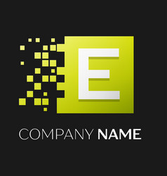 letter e logo symbol in the colorful square vector image