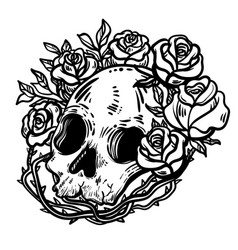 line art scary skull and flowers vector image