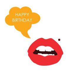 lips happy birthday color vector image