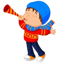 Little boy cartoon with trumpet vector
