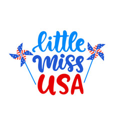 little miss usa hand written ink lettering vector image