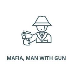 mafia man with gun line icon linear vector image