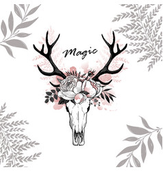 magic horn deer floral vector image