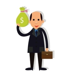 man businessman bald holding money corrupt vector image