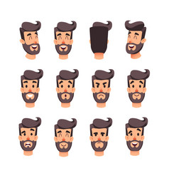 Man s head with different emotions cartoon vector