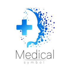 medical sign with cross inside human vector image