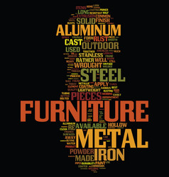 Metal outdoor furniture explained text background vector