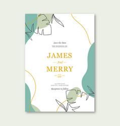 minimalist wedding invitation template vector image