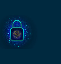 network cyber security technology with padlock on vector image