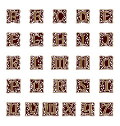 Ornamental letter alphabet vintage vector