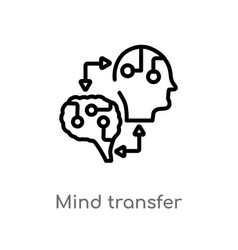 Outline mind transfer icon isolated black simple vector