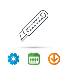 paper knife icon cutter tool sign vector image