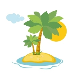 Paradise island in the sea with palm trees and vector