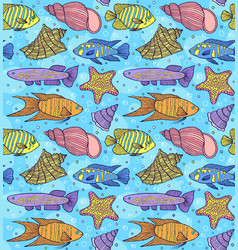 Pattern with fish esand shells vector