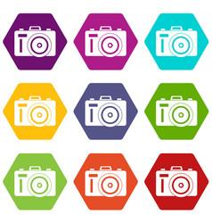 Photocamera icon set color hexahedron vector