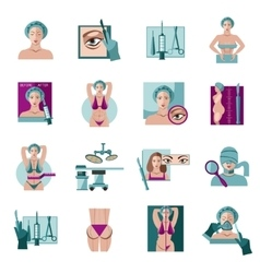 Plastic surgery flat icons set vector