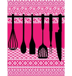 Rack of kitchen utensils vector image