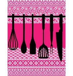 Rack of kitchen utensils vector image