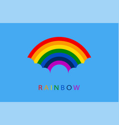 rainbow with blue clouds on sky background for vector image