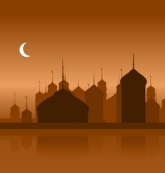 Ramadan Background with Silhouette Mosque vector