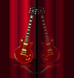 Red guitar reflections vector