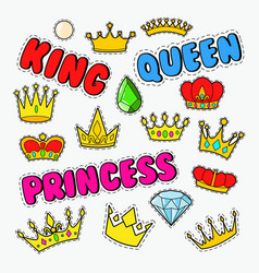 royal doodle with set golden crowns and gems vector image