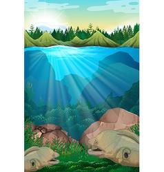 Sea monster swimming underwater vector