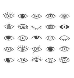 set black and white outline eye icons vector image