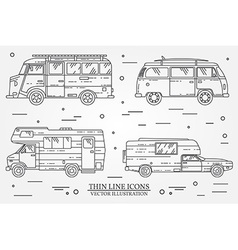 Set of cars for camping Car and camper set Summer vector